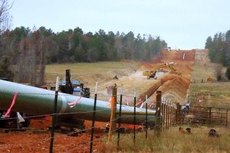 Construction on the southern leg of the Keystone XL pipeline in Texas