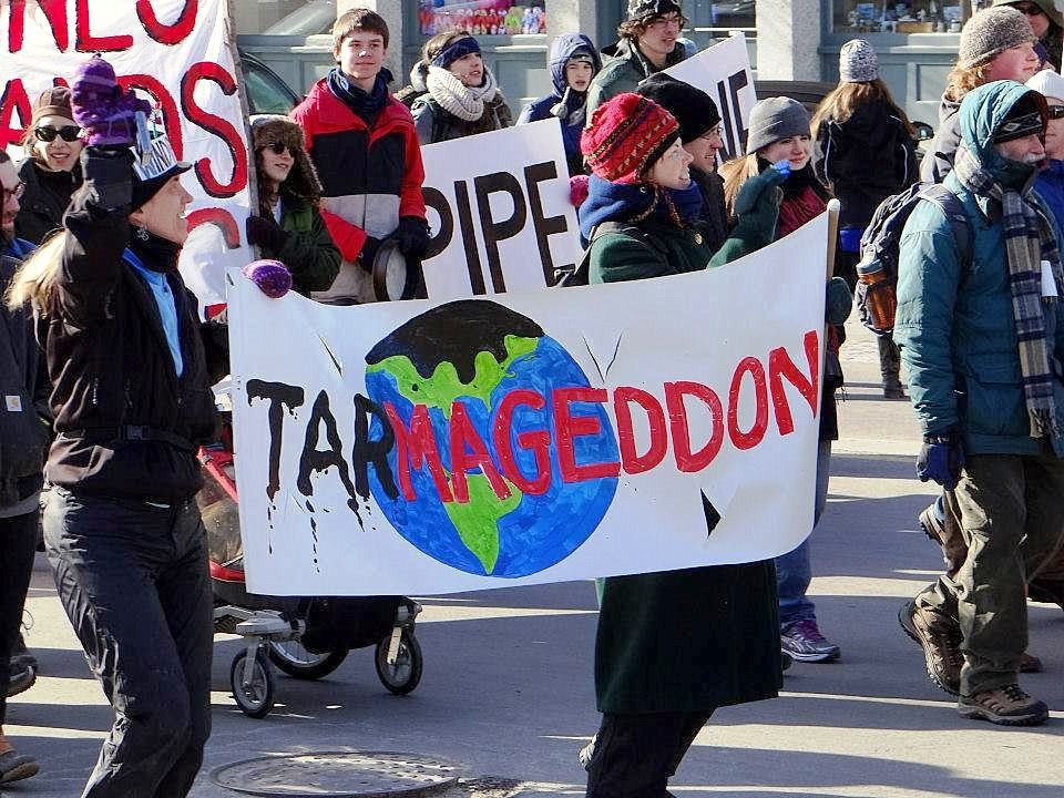 Protesters rally in Portland, Maine, against possible plans to pipe oil from Can