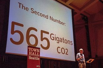 Bill McKibben delivers a speech during his Do the Math Tour