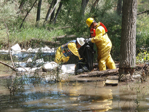 Oil spill cleanup on the Yellowstone River, July 2011.