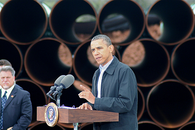 President Barack Obama speaks at the site of the southern leg of the Keystone XL