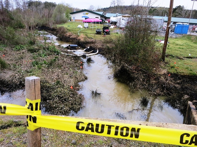 Stream near the site of ExxonMobil's Arkansas spill in the town of Mayflower.