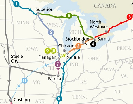 Map of new and expanded Enbridge oil pipelines