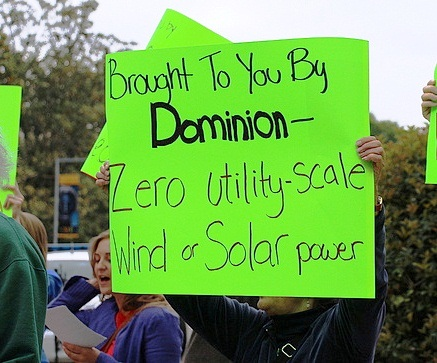 Activists protest in front of Dominion's annual shareholder meeting on May 3.