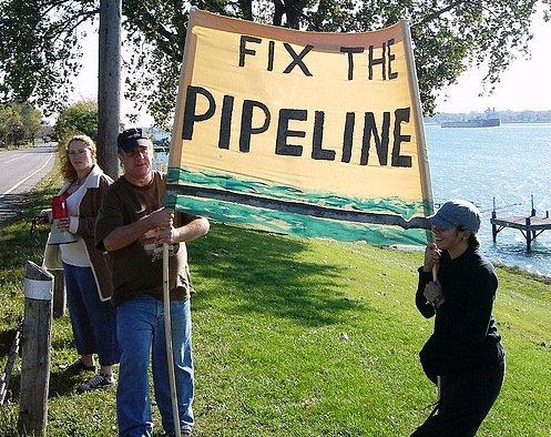 Demonstrators in Sarnia, Ontario protest against Enbridge's Line 6B