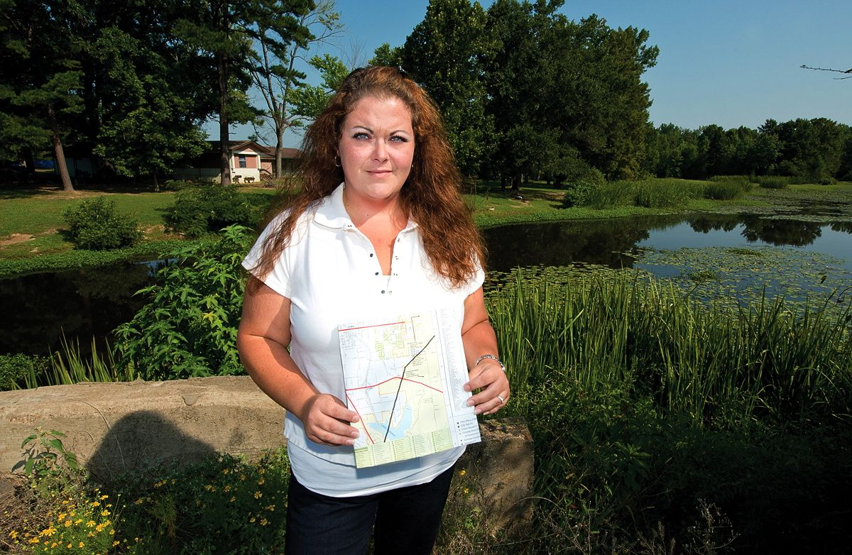 Conway resident Megan Brown with a Pegasus map.