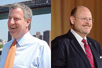 Mayoral candidates Joseph Lhota, a Republican, and Democrat Bill de Blasio