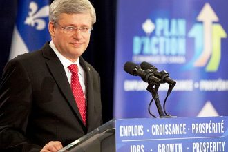 Prime Minister Stephen Harper on a tour of CO2 Solutions Inc., a Quebec company