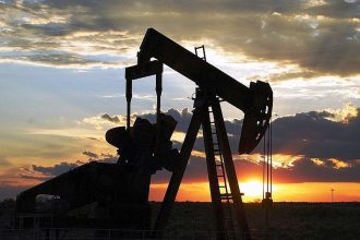 An oil pump jack operates in Texas.