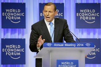 Tony Abbott, Primer Minister of Australia, at the World Economic Forum in 2014.