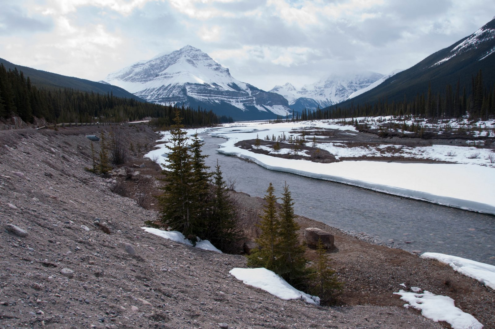 The upper reaches of the Athabasca River in Jasper National Park.