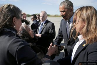 President Obama arrives in Alaska for his trip to promote climate awareness in the Arctic.