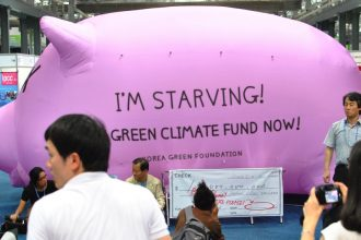 A Korean group promotes contributing to the Green Climate Fund.