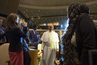 Pope Francis arrives at the United Nations on Friday.