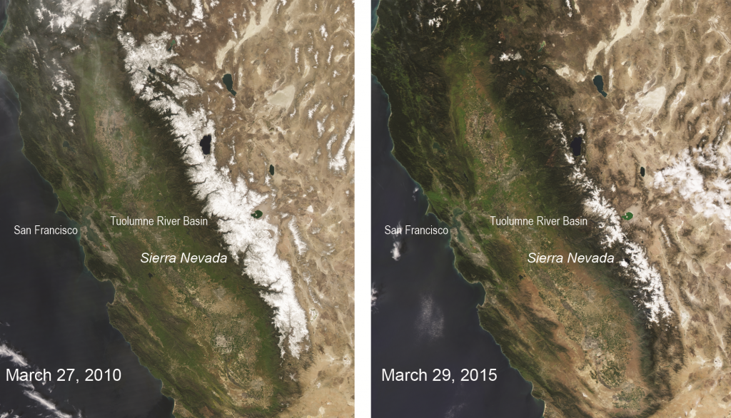 Comparing the snowpack in the Sierra Nevada mountains from 2010 to 2015.