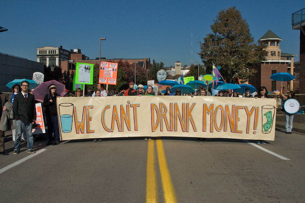 In Pittsburgh, people protest the health impacts and water pollution caused by fracking.