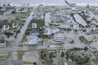 Hurricane Arthur flooded Hatteras Island in 2014, causing power outages