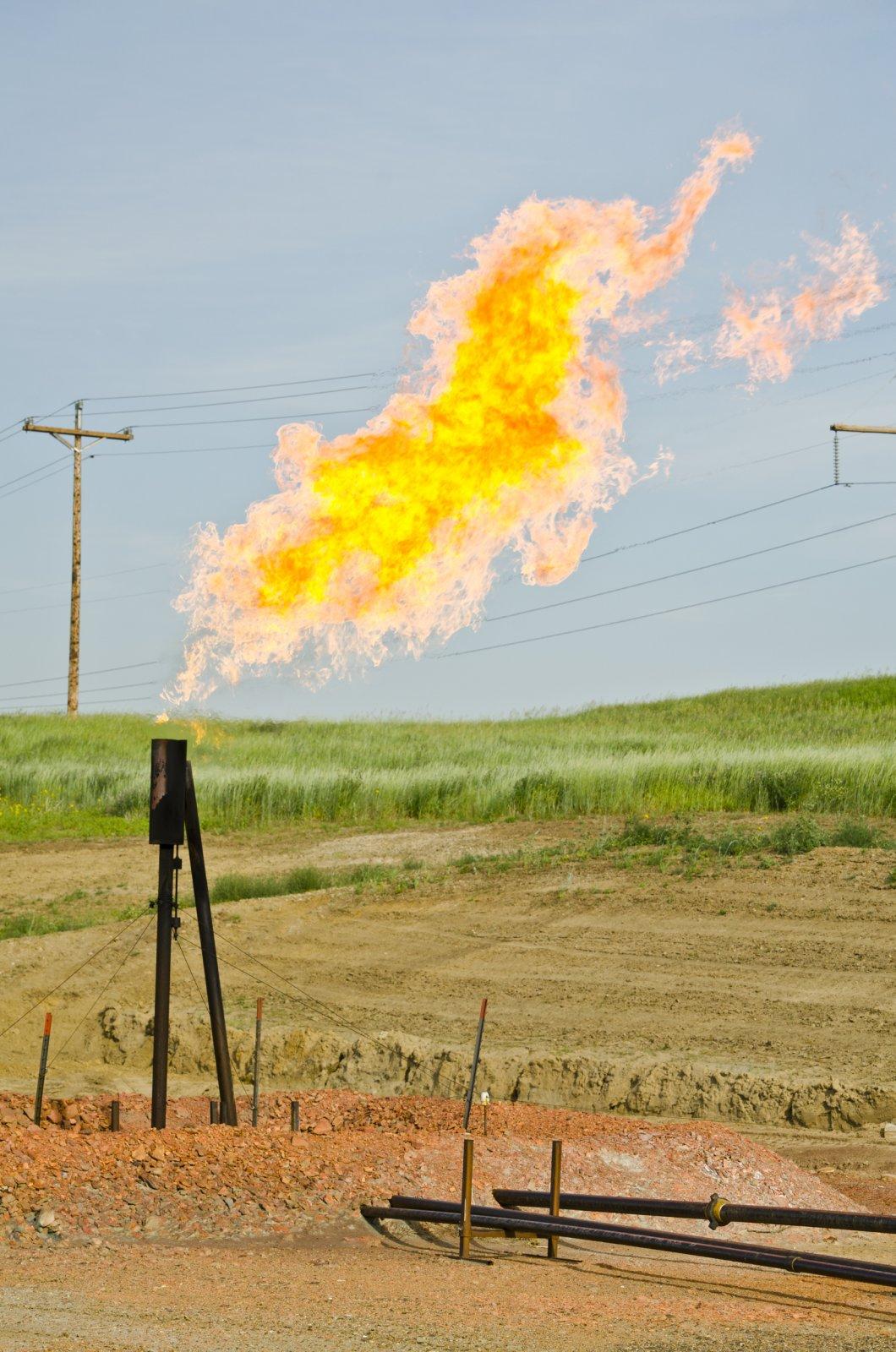 Natural gas flaring at Arnegard, North Dakota oil drilling site