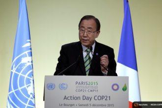 UN Secretary General Ban Ki-moon speaks at the climate talks