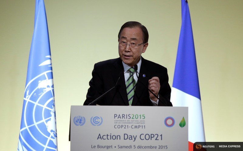 UN Secretary General Ban Ki-moon speaks at the climate talks
