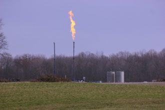 Flaring at a natural gas well in Scott Township, Penn.