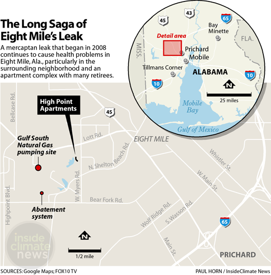 Detail map of leak site