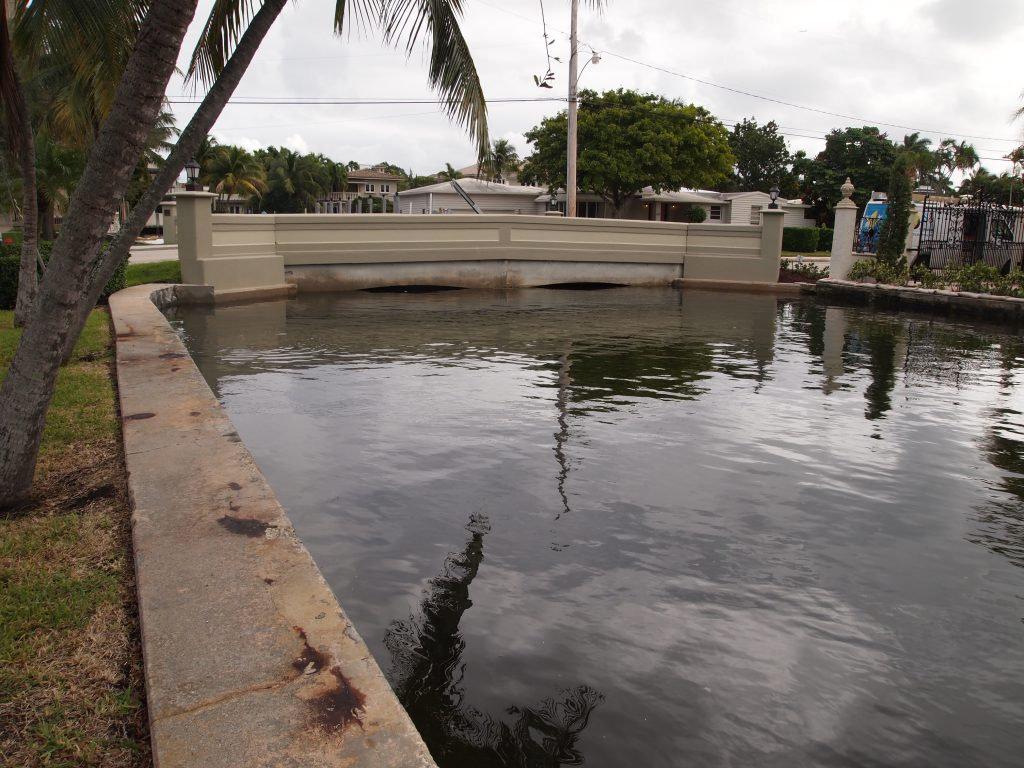 Water in Fort Lauderdale nearly overtops a bridge.