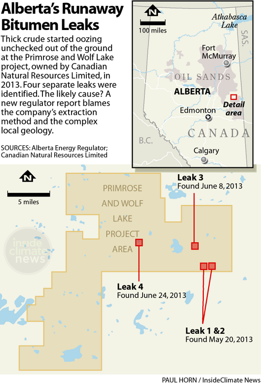 Four oil sands leaks caused by deep steam injection