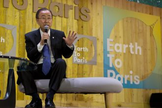 UN Secretary General Ban Ki-moon speaks at the Paris climate conference in December 2015