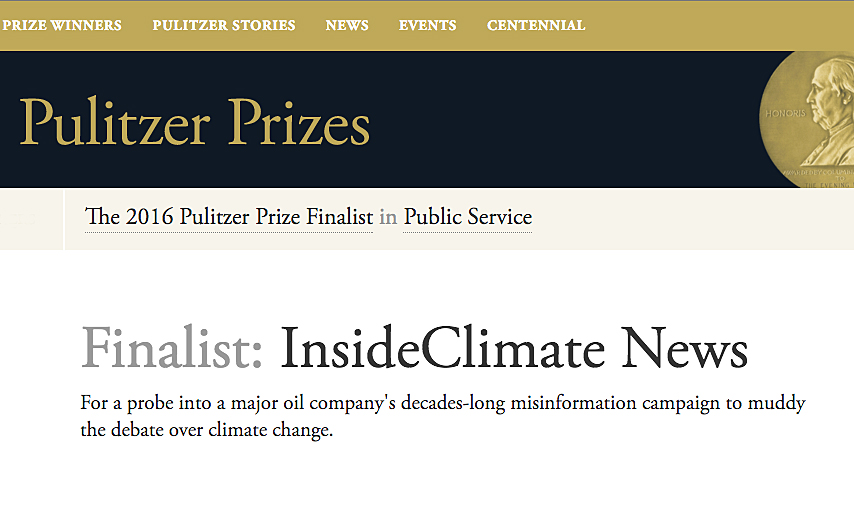 InsideClimate News was named a Pulitzer Prize finalist