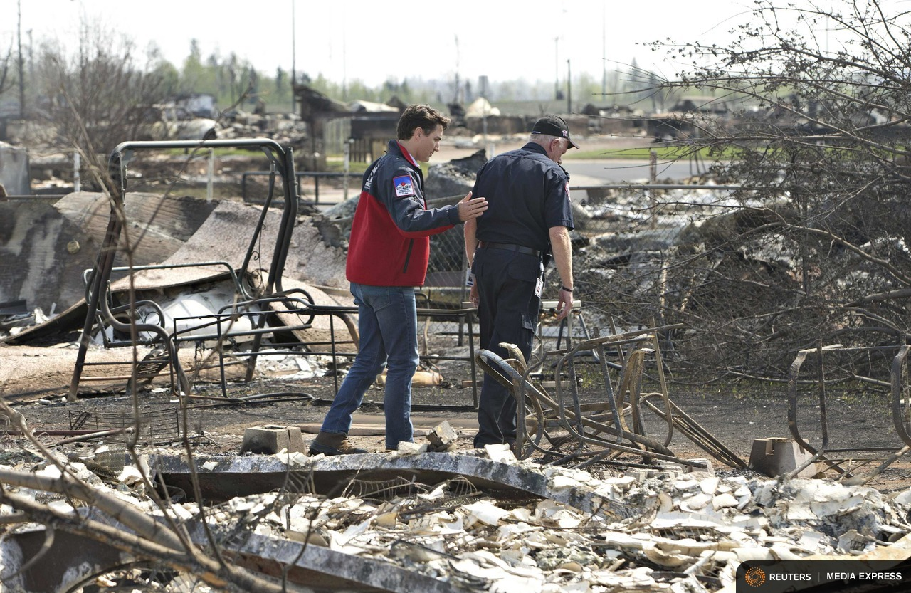 Canadian Prime Minister Justin Trudeau visits Fort McMurray, Alberta after a devastating wildfire