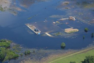 Apparent oil spill during flooding photographed by Texas Civil Air Patrol