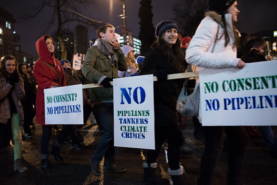 People in Vancouver protesting the Northern Gateway pipeline project