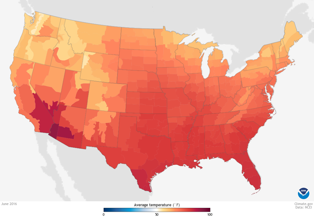 June 2016 featured record heat across the U.S.