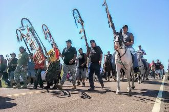 Native American protesters halted pipeline construction in Cannon Ball, N.D.