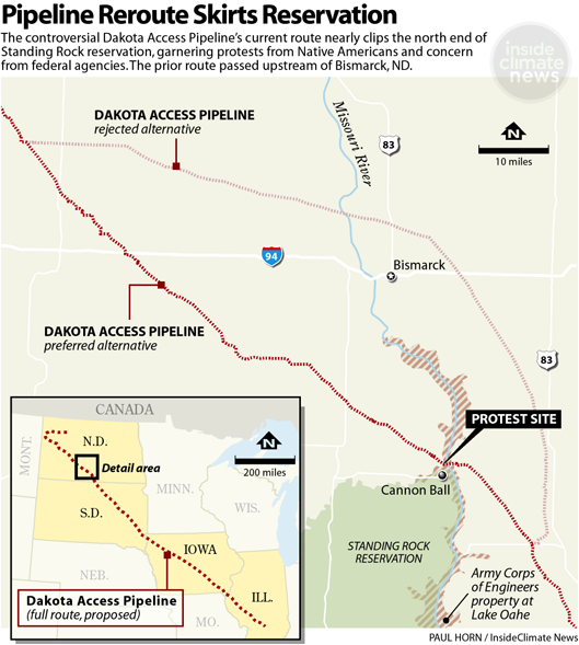 Pipeline reroute: map