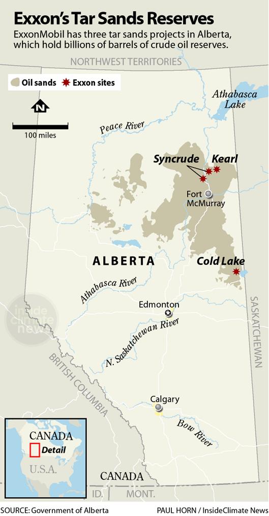 Exxon's tar sands projects in Alberta, Canada
