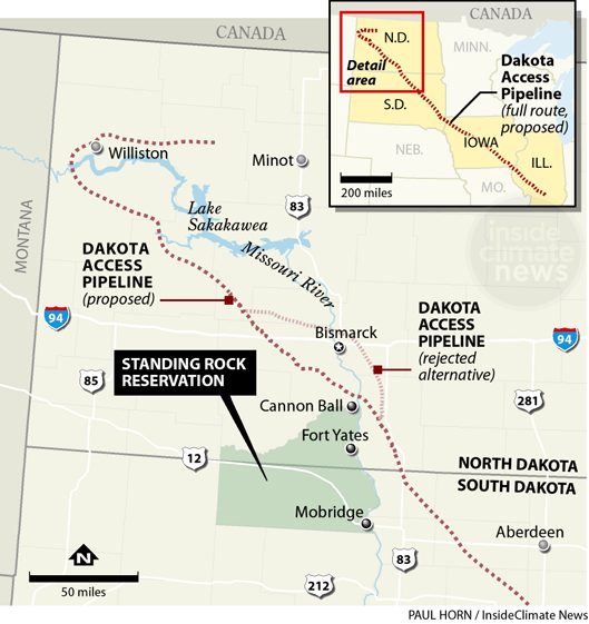 Map of Standing Rock location