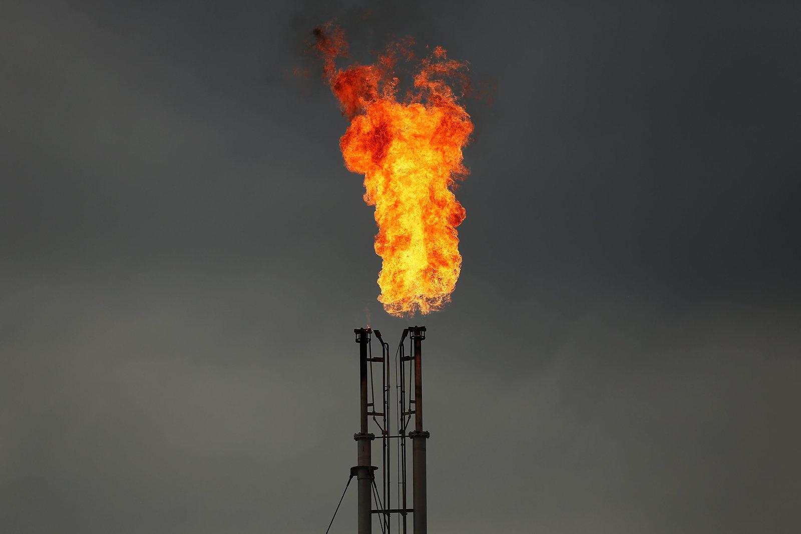 Flaring at a natural gas facility in Cuero, Texas
