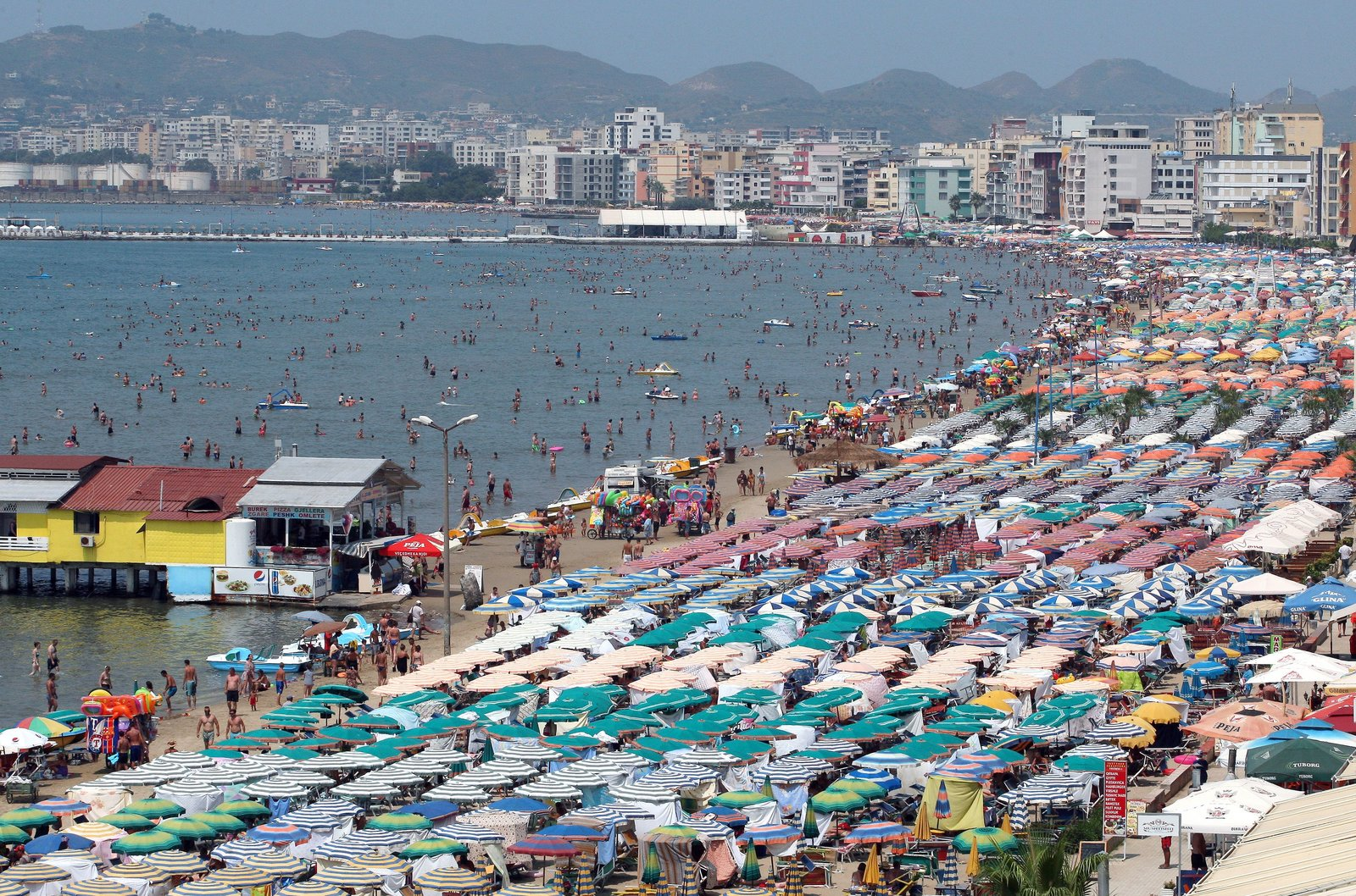 Flocking to the beach during an Albanian heat wave