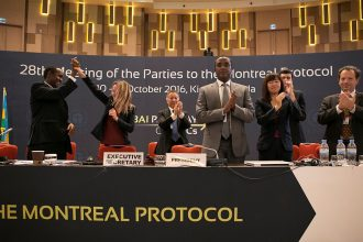 Negotiators celebrate UN international accord on HFCs in Kigali, Rwanda
