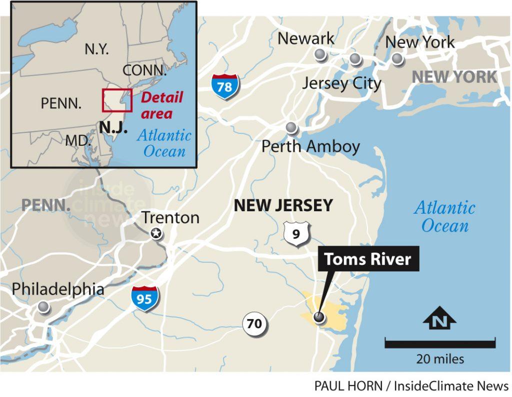 Map of Toms River in NJ