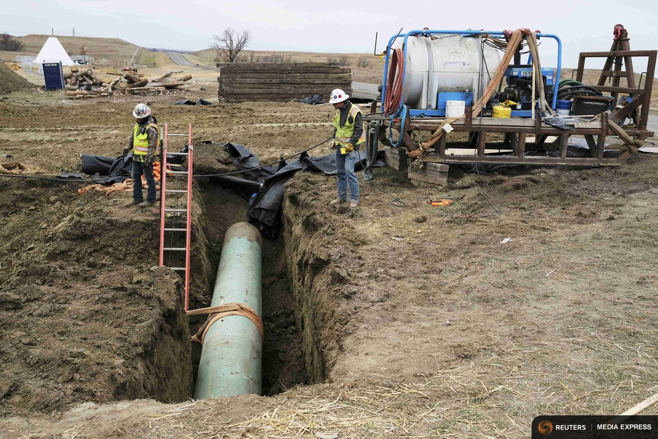 Construction continues on the Dakota Access pipeline near Cannon Ball, N.D.