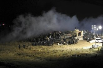 Police used water cannons and rubber bullets in facing Dakota Access protesters last weekend