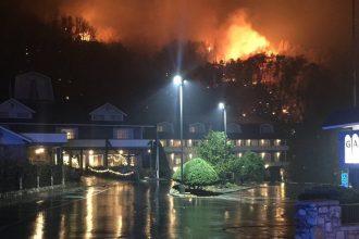 A wildfire raged outside Gatlinburg, Tenn.