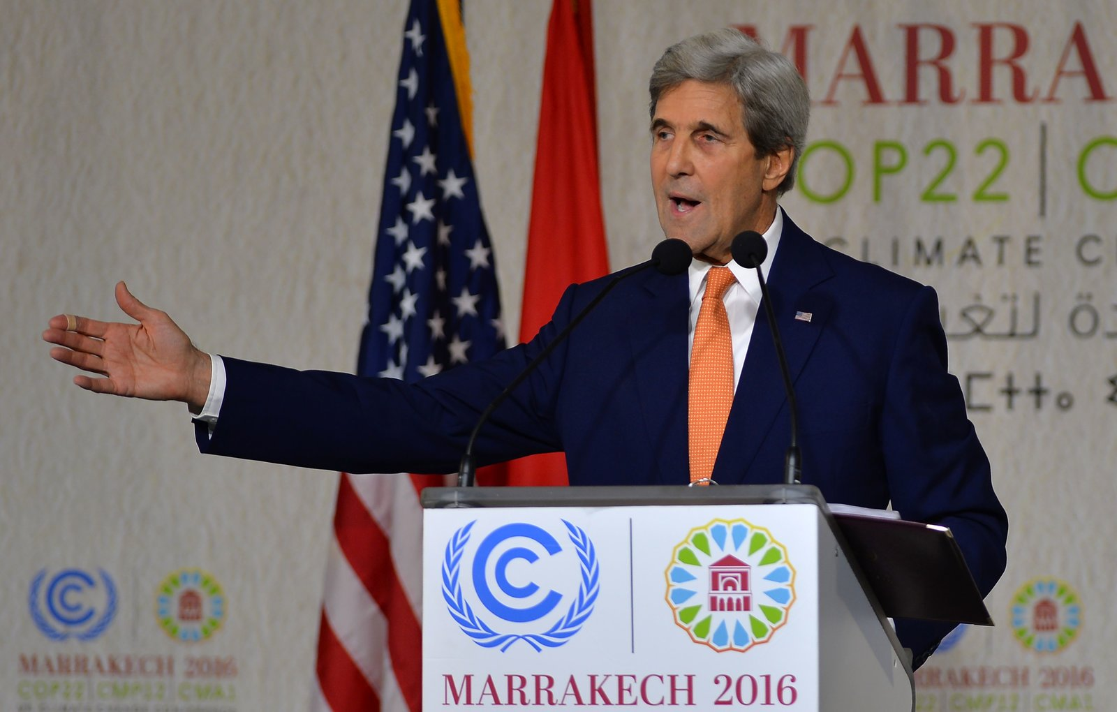 Secretary of State John Kerry speaks to the climate delegates at COP22