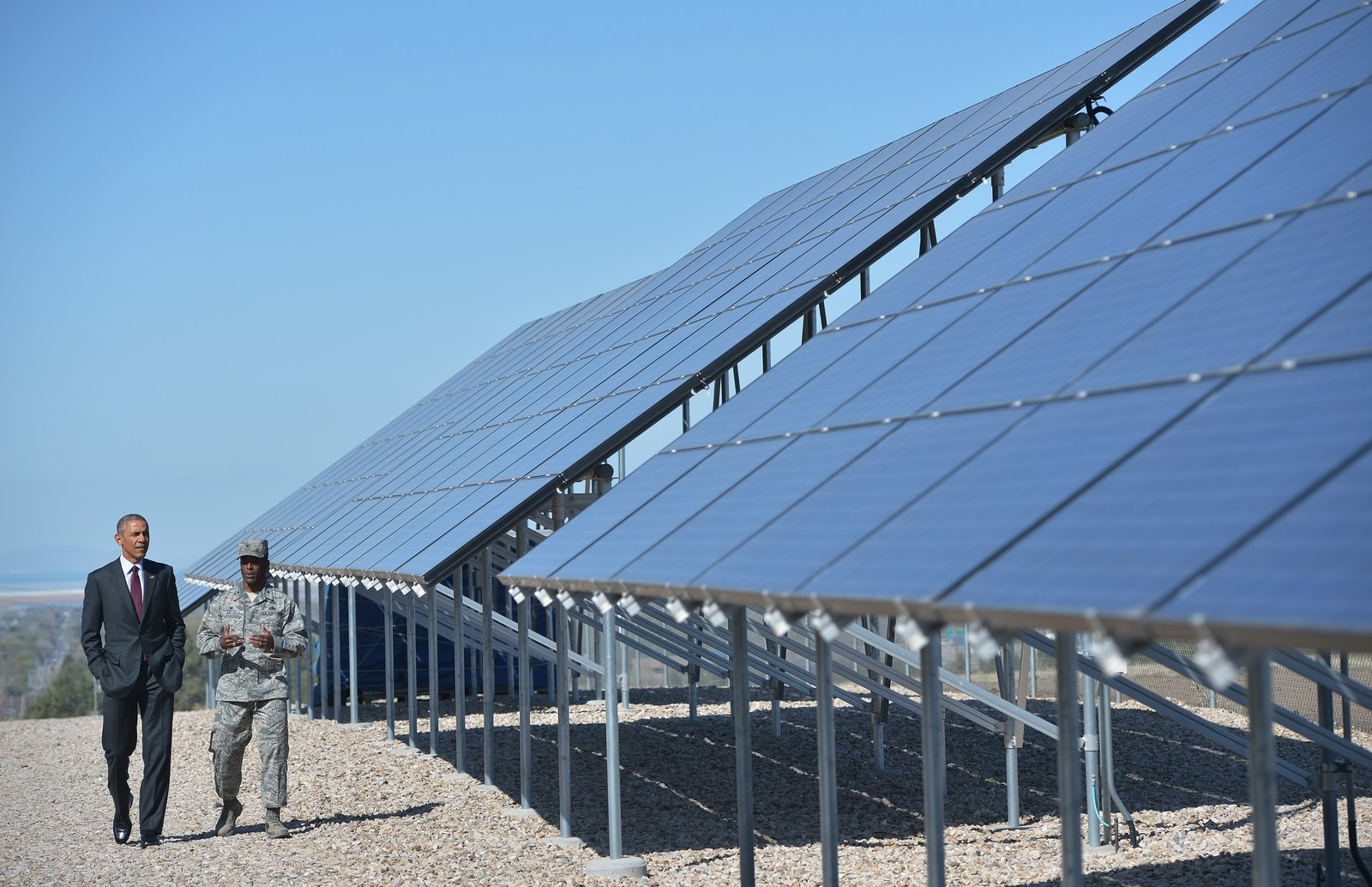 President Obama at a solar installation at Hill Air Force Base in Utah