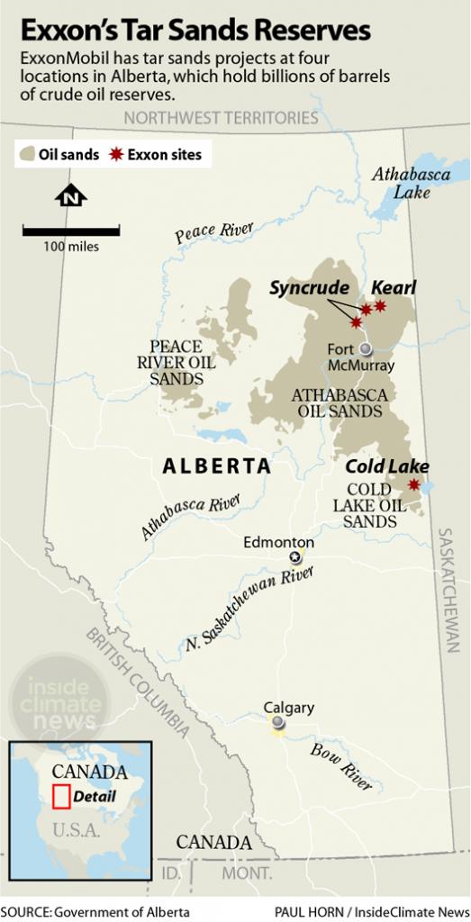 Exxon climate investigation map tar sands