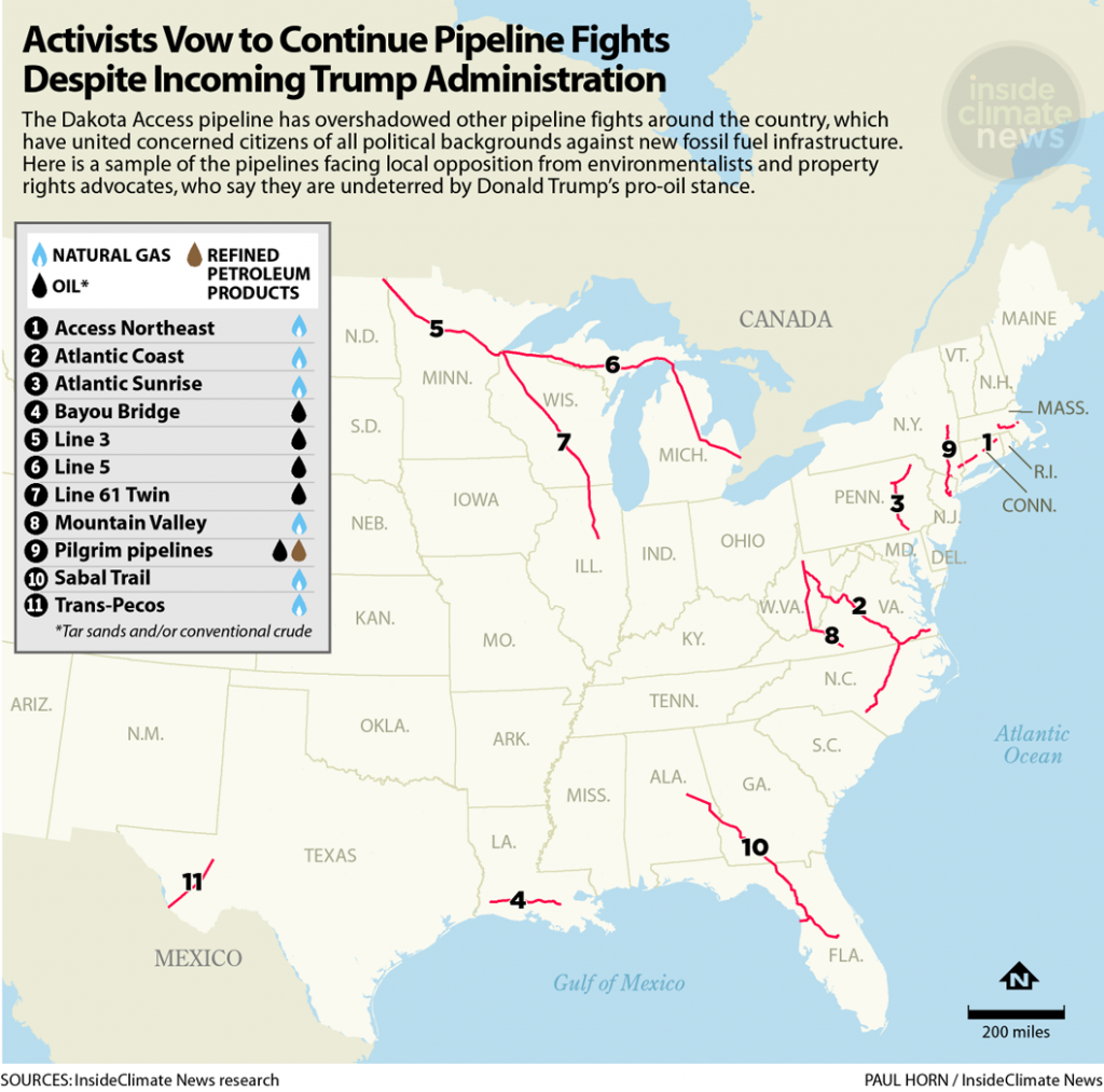 Map of the contested pipelines