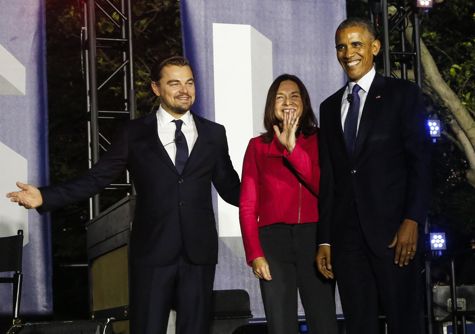 President Obama hosts a climate change panel at the White House with Leonardo DiCaprio and climate scientist Katharine Hayhoe